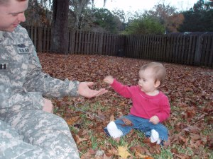 Me, meeting my new Daughter after my second deployment in 2008. Sophie was a year old.